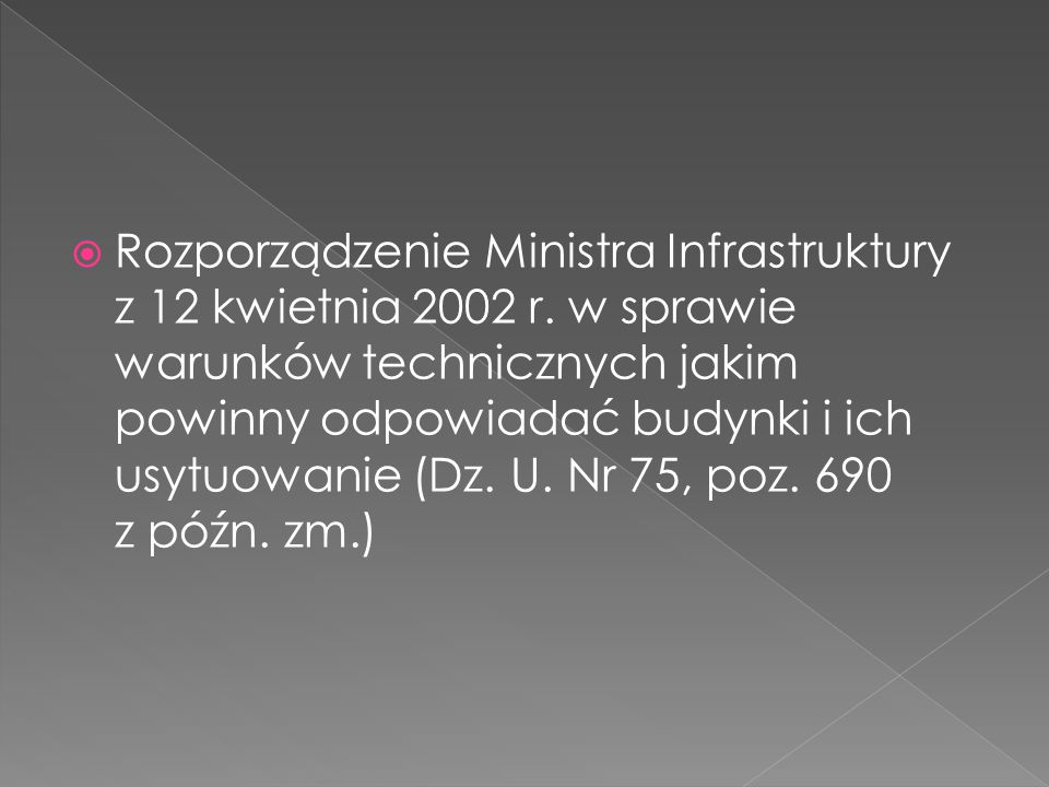 Rozporządzenie Ministra Infrastruktury z 12 kwietnia 2002 r