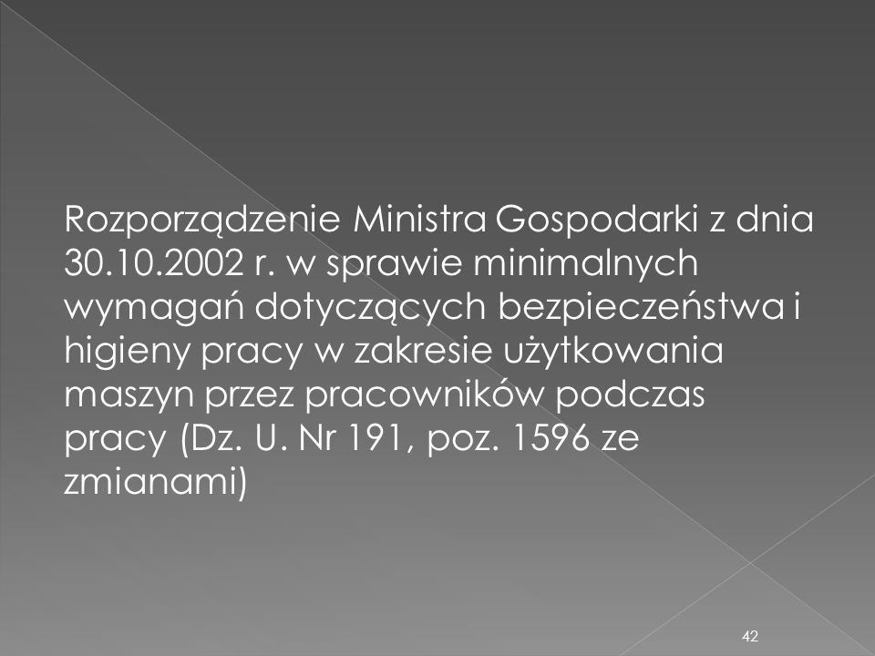 Rozporządzenie Ministra Gospodarki z dnia 30. 10. 2002 r