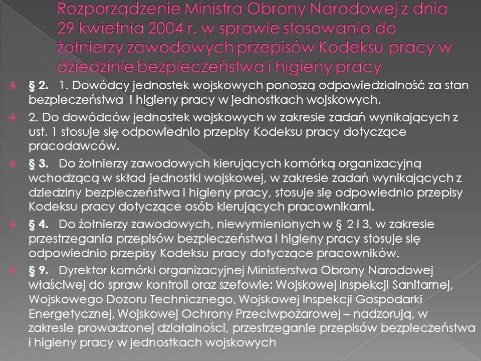Rozporządzenie Ministra Obrony Narodowej z dnia 29 kwietnia 2004 r