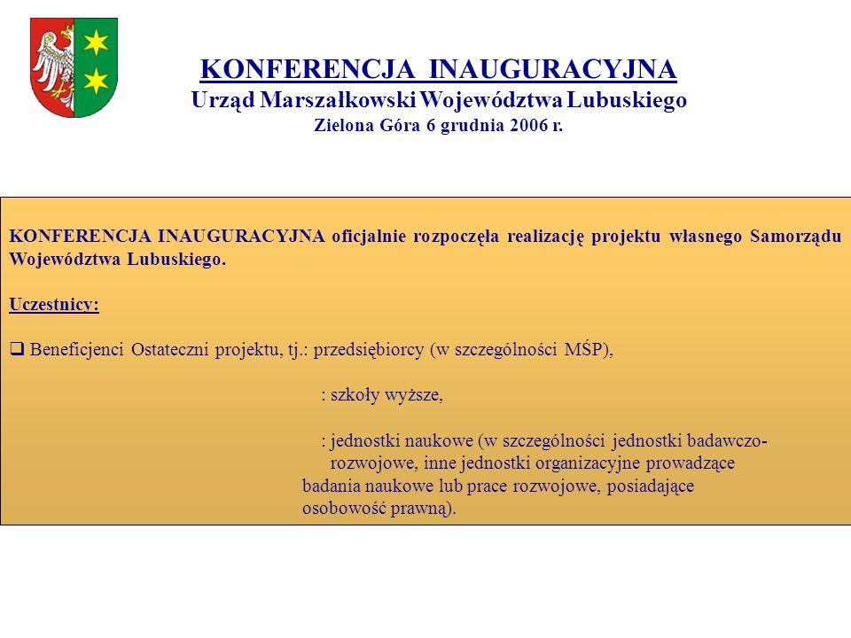 KONFERENCJA INAUGURACYJNA Urząd Marszałkowski Województwa Lubuskiego