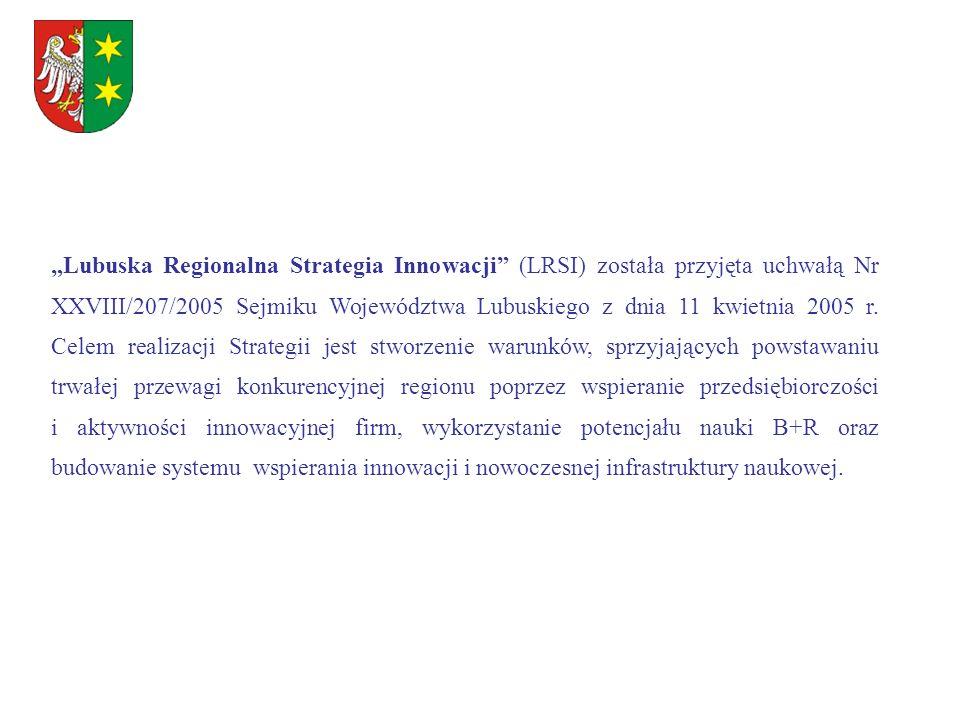 """""""Lubuska Regionalna Strategia Innowacji (LRSI) została przyjęta uchwałą Nr XXVIII/207/2005 Sejmiku Województwa Lubuskiego z dnia 11 kwietnia 2005 r."""