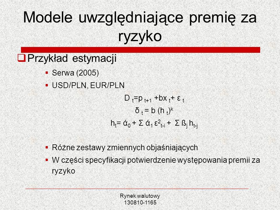 Modele uwzględniające premię za ryzyko