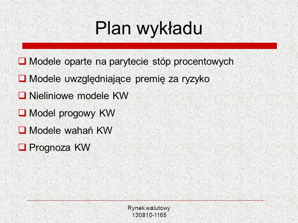 Plan wykładu Modele oparte na parytecie stóp procentowych