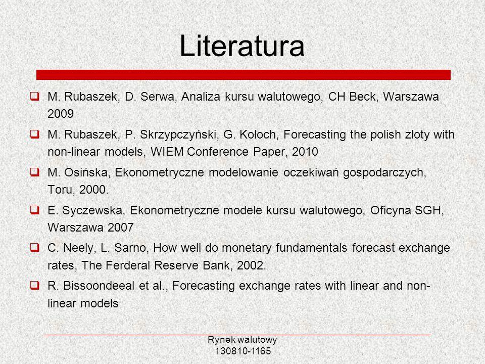 LiteraturaM. Rubaszek, D. Serwa, Analiza kursu walutowego, CH Beck, Warszawa 2009.