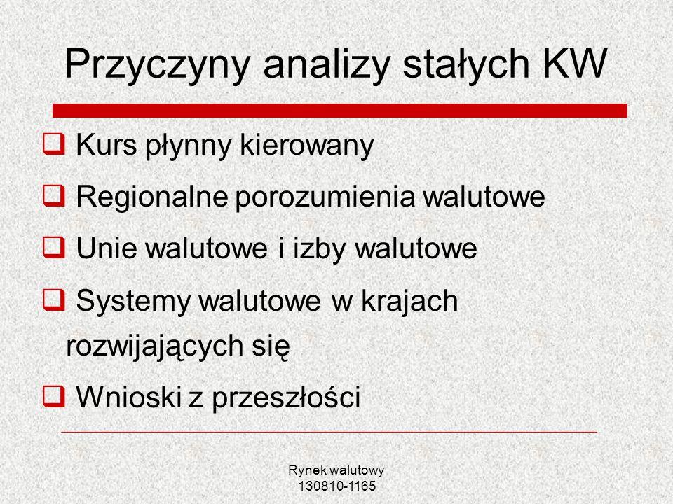 Przyczyny analizy stałych KW