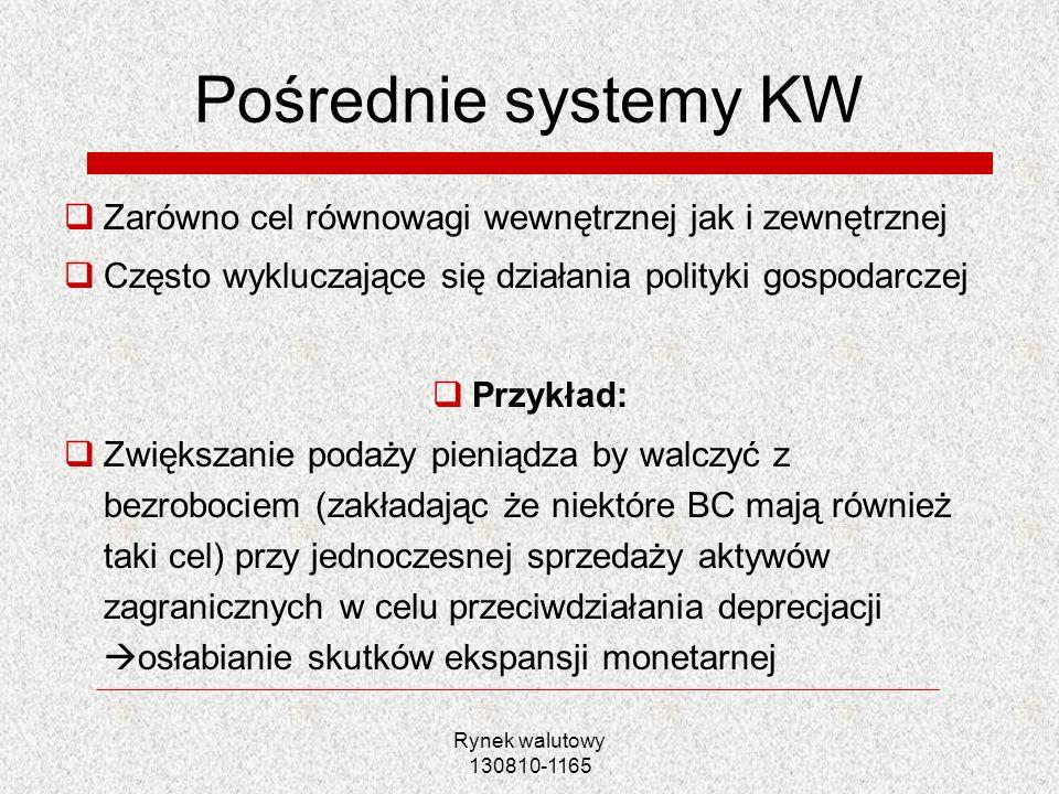 Pośrednie systemy KW Zarówno cel równowagi wewnętrznej jak i zewnętrznej. Często wykluczające się działania polityki gospodarczej.