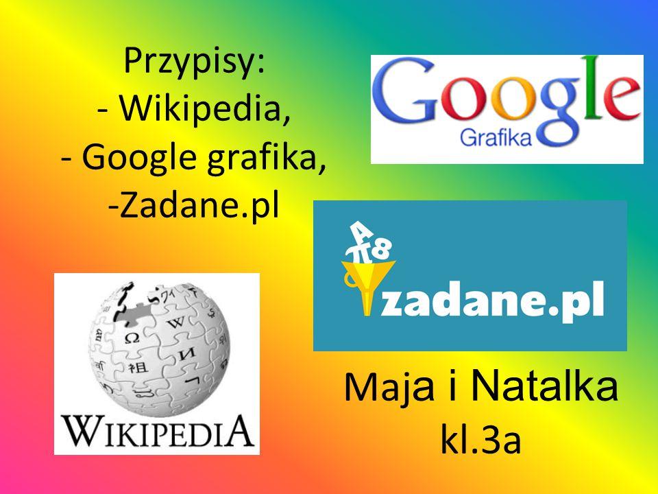 Przypisy: - Wikipedia, - Google grafika, -Zadane.pl