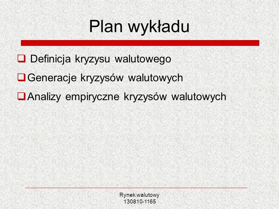 Plan wykładu Definicja kryzysu walutowego