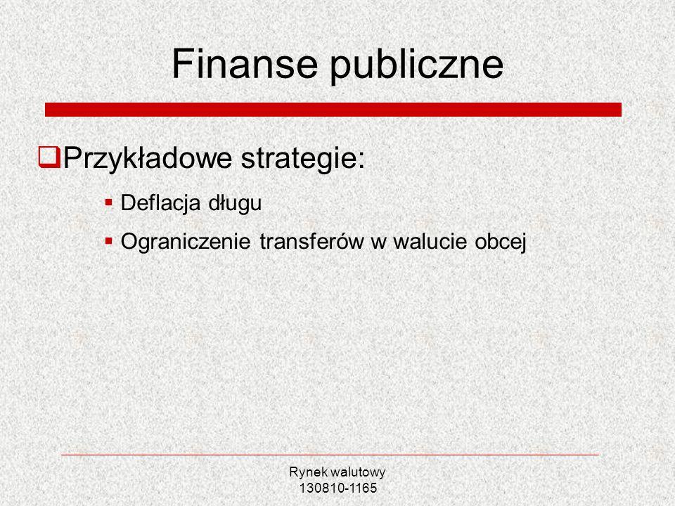Finanse publiczne Przykładowe strategie: Deflacja długu