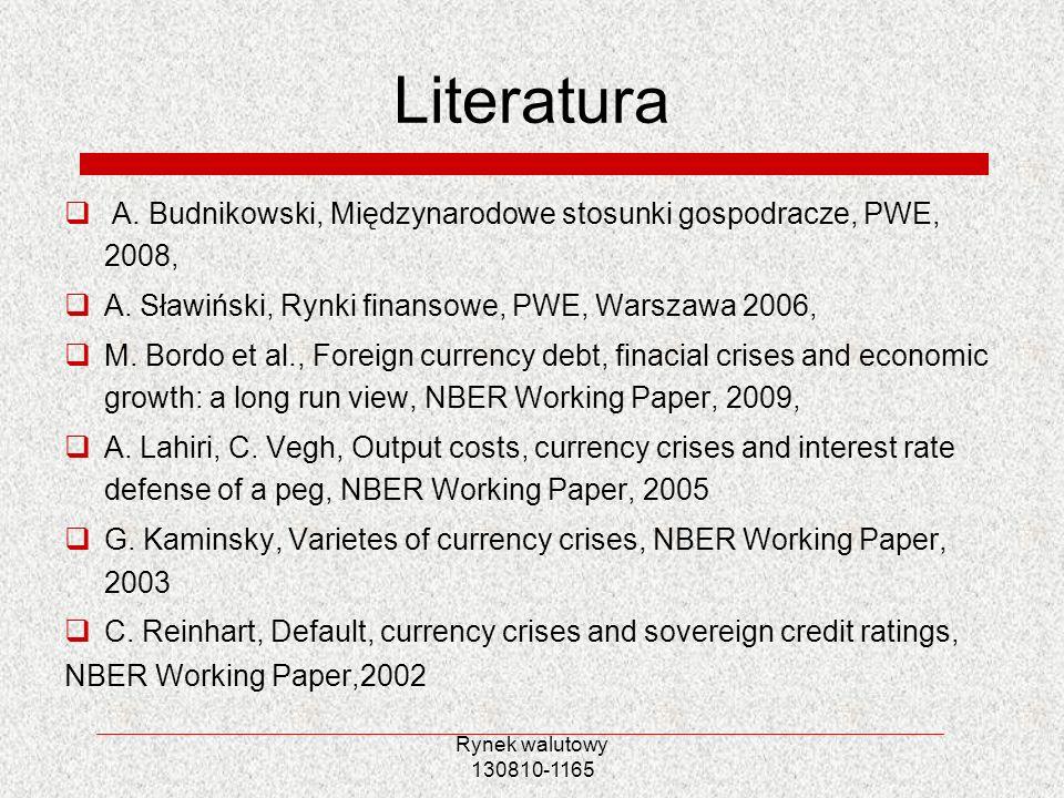 Literatura A. Budnikowski, Międzynarodowe stosunki gospodracze, PWE, 2008, A. Sławiński, Rynki finansowe, PWE, Warszawa 2006,