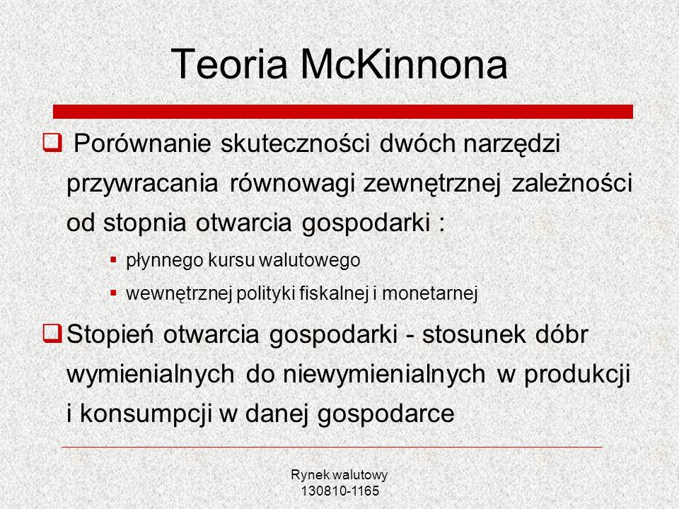 Teoria McKinnona Porównanie skuteczności dwóch narzędzi przywracania równowagi zewnętrznej zależności od stopnia otwarcia gospodarki :