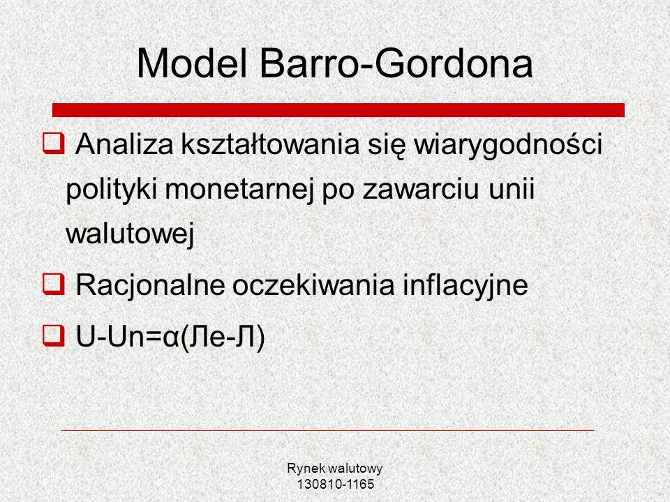 Model Barro-Gordona Analiza kształtowania się wiarygodności polityki monetarnej po zawarciu unii walutowej.