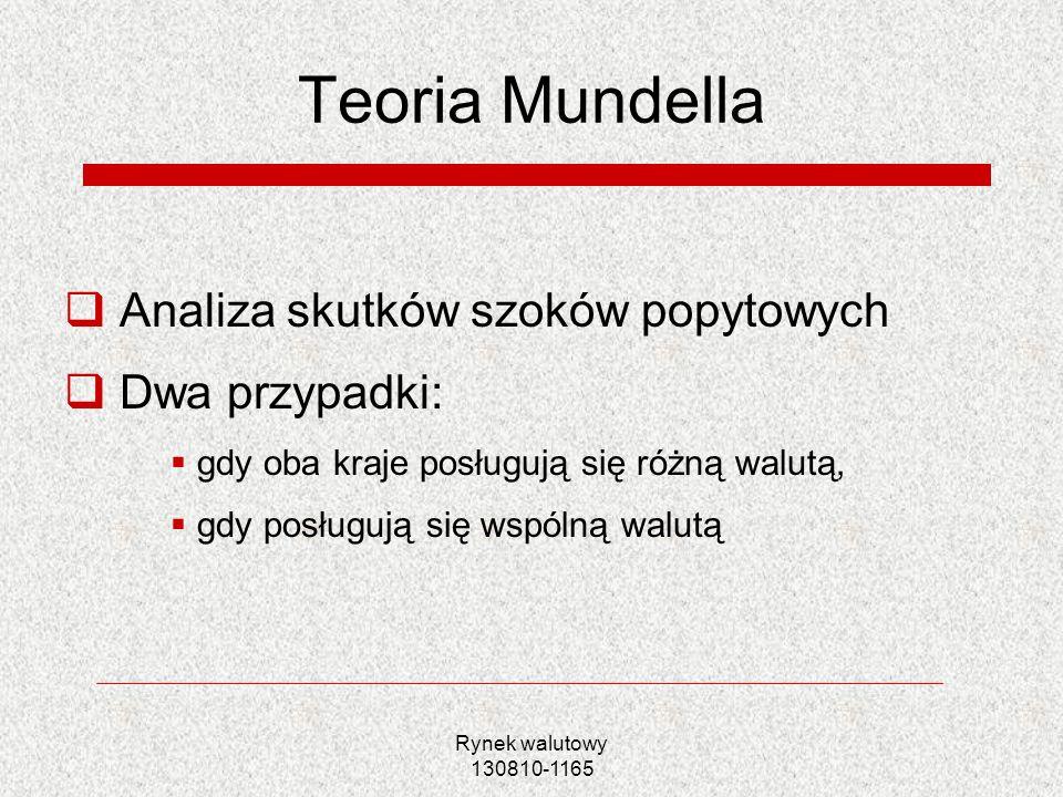 Teoria Mundella Analiza skutków szoków popytowych Dwa przypadki: