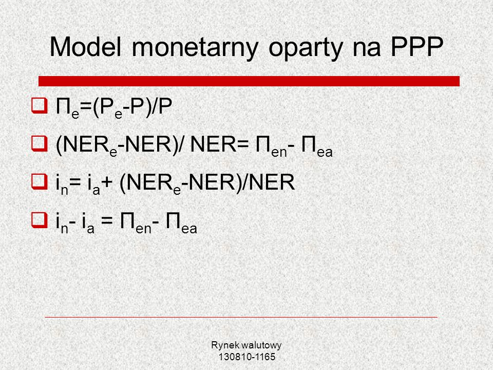 Model monetarny oparty na PPP
