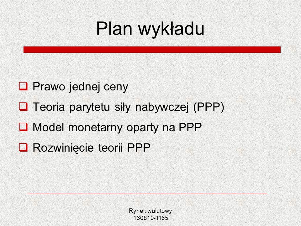 Plan wykładu Prawo jednej ceny Teoria parytetu siły nabywczej (PPP)