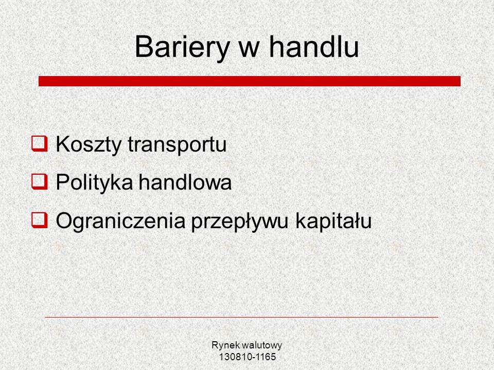Bariery w handlu Koszty transportu Polityka handlowa