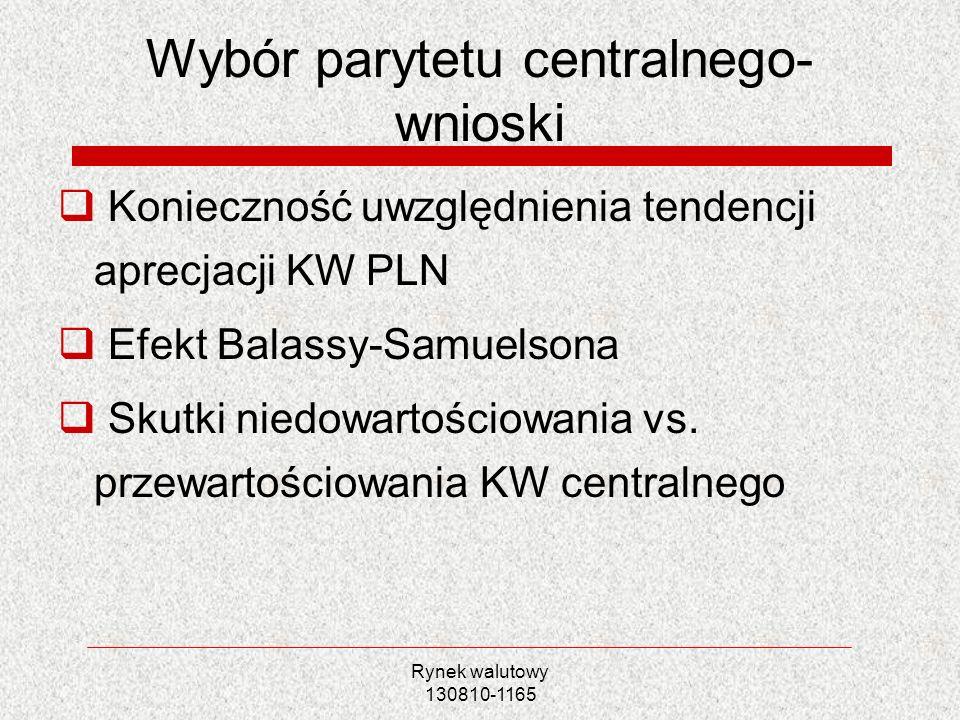 Wybór parytetu centralnego- wnioski
