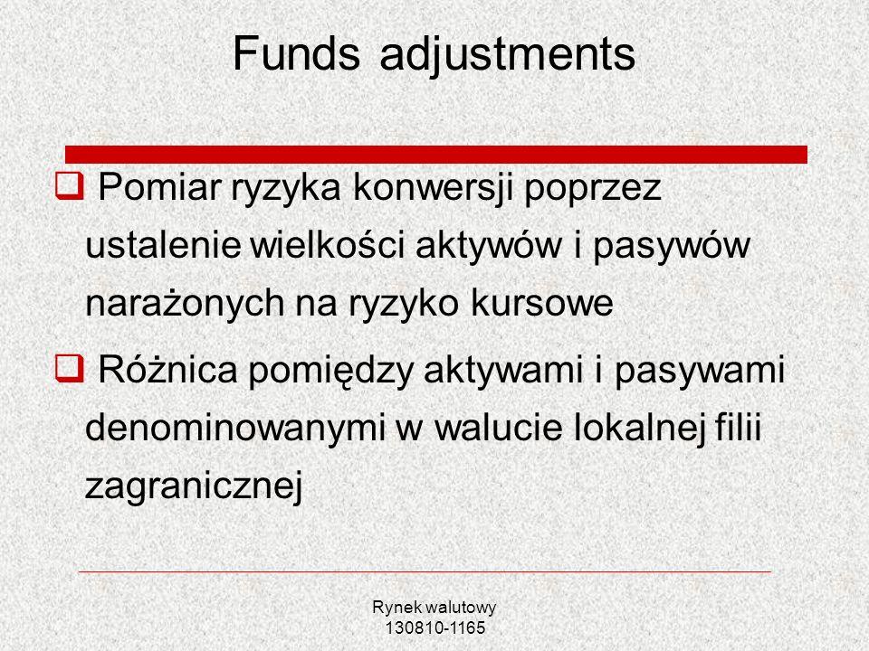 Funds adjustments Pomiar ryzyka konwersji poprzez ustalenie wielkości aktywów i pasywów narażonych na ryzyko kursowe.
