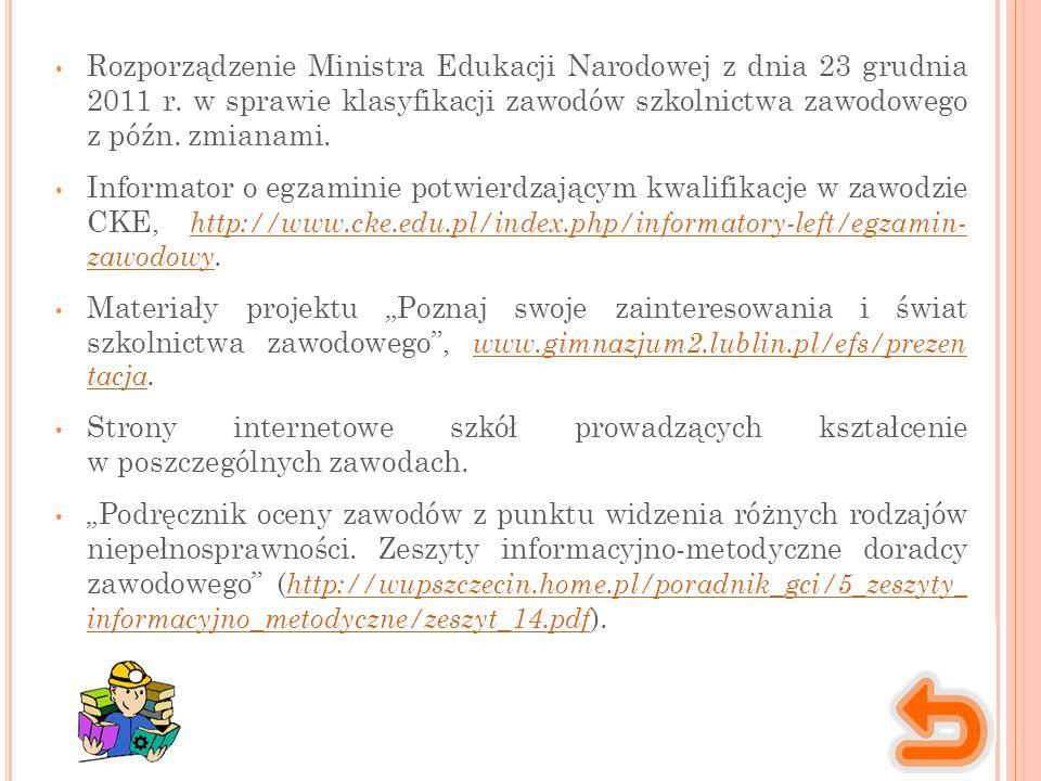 Rozporządzenie Ministra Edukacji Narodowej z dnia 23 grudnia 2011 r