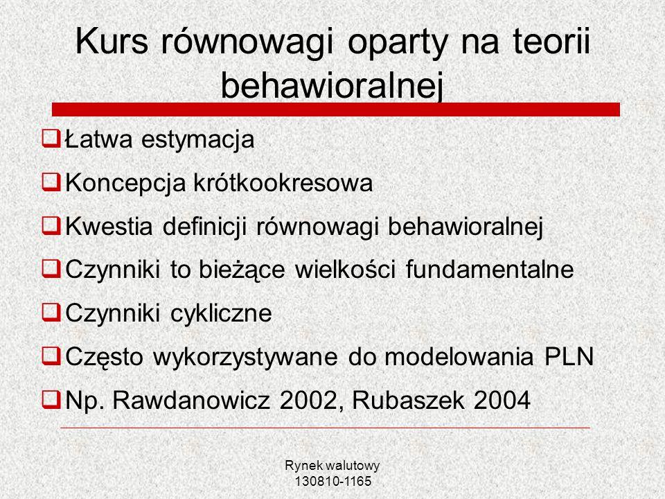 Kurs równowagi oparty na teorii behawioralnej