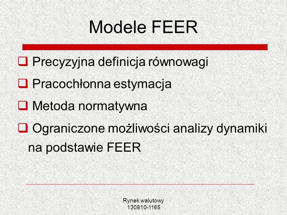 Modele FEER Precyzyjna definicja równowagi Pracochłonna estymacja