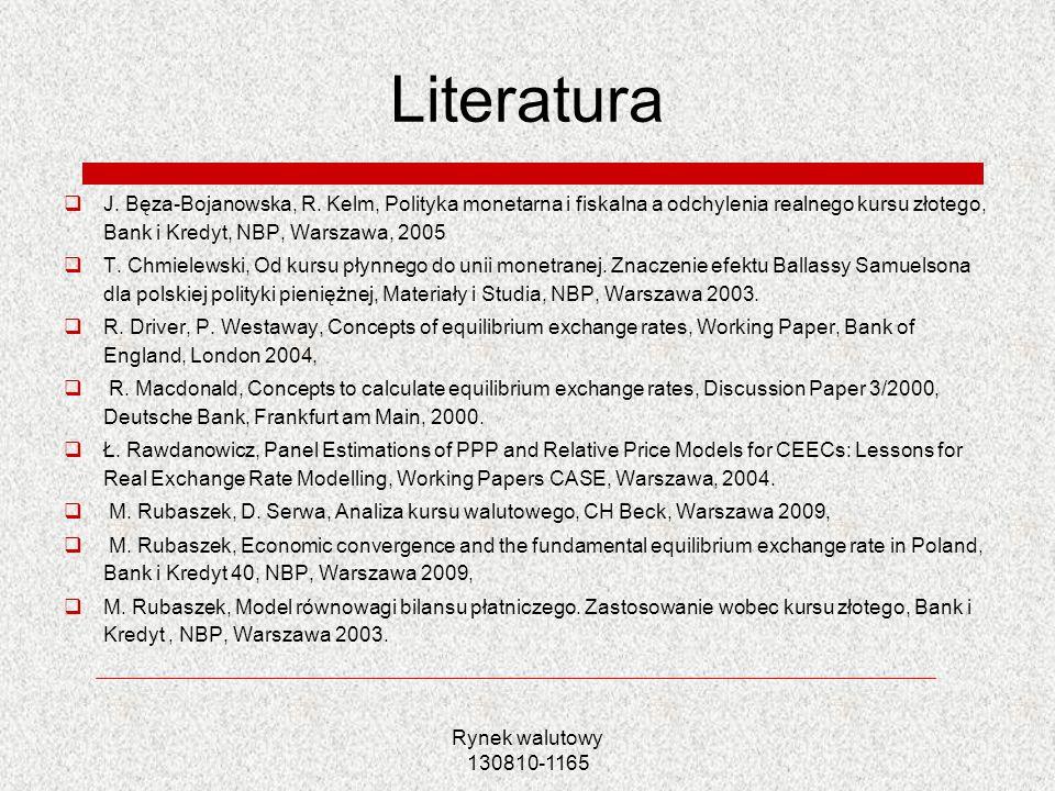 Literatura J. Bęza-Bojanowska, R. Kelm, Polityka monetarna i fiskalna a odchylenia realnego kursu złotego, Bank i Kredyt, NBP, Warszawa, 2005.