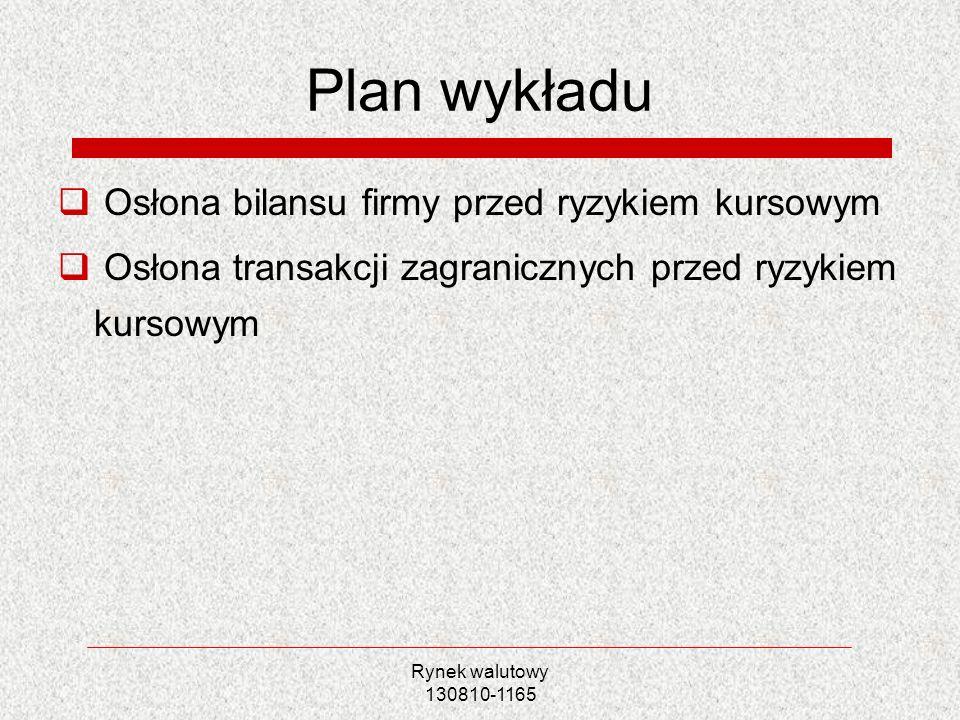 Plan wykładu Osłona bilansu firmy przed ryzykiem kursowym