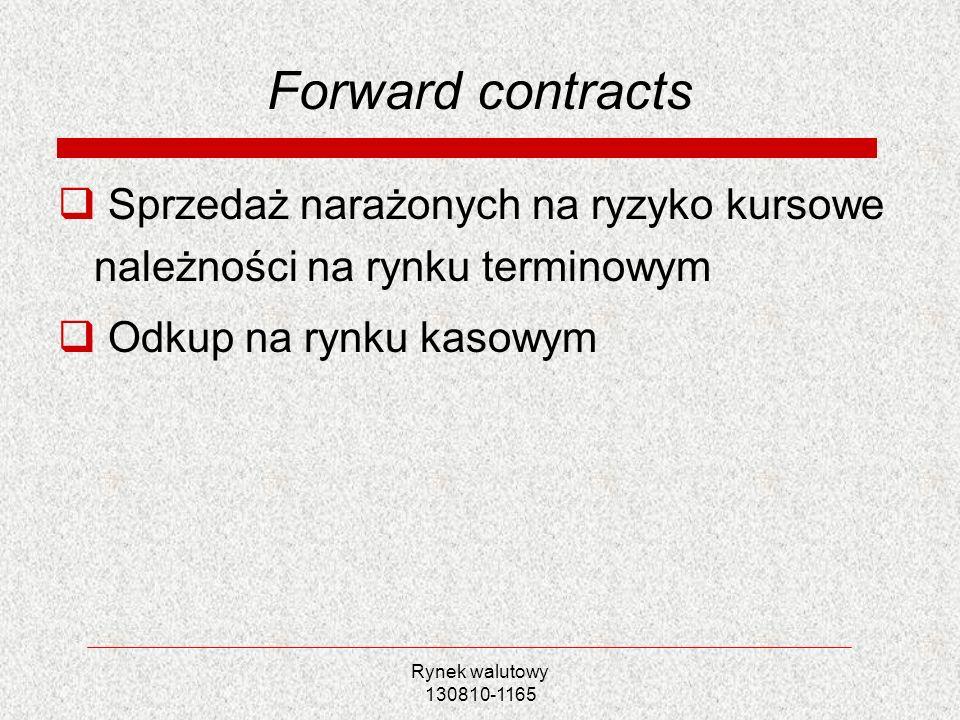 Forward contracts Sprzedaż narażonych na ryzyko kursowe należności na rynku terminowym. Odkup na rynku kasowym.