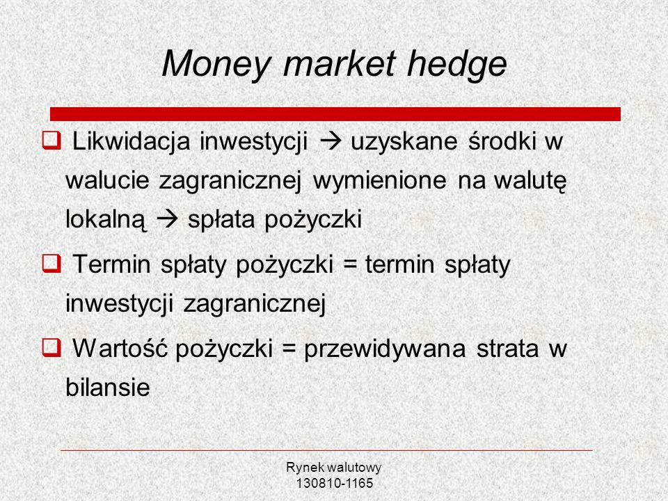 Money market hedgeLikwidacja inwestycji  uzyskane środki w walucie zagranicznej wymienione na walutę lokalną  spłata pożyczki.