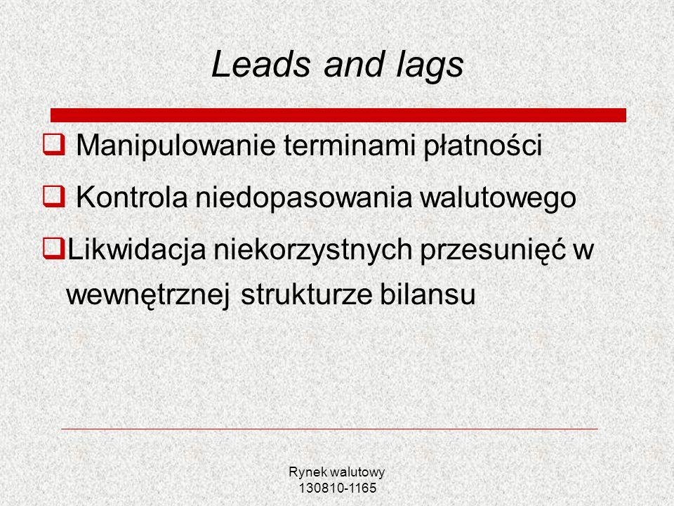 Leads and lags Manipulowanie terminami płatności