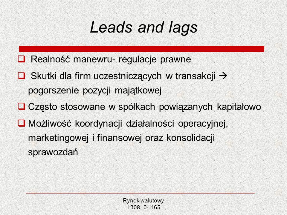 Leads and lags Realność manewru- regulacje prawne