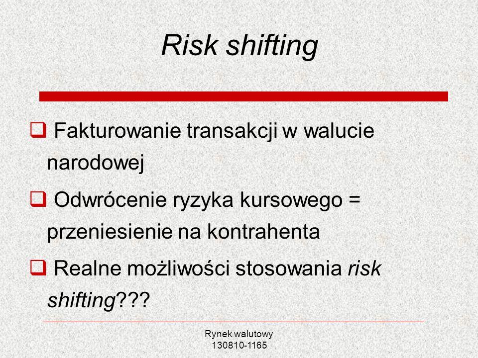Risk shifting Fakturowanie transakcji w walucie narodowej