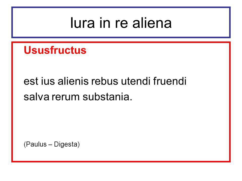 Iura in re aliena Ususfructus est ius alienis rebus utendi fruendi