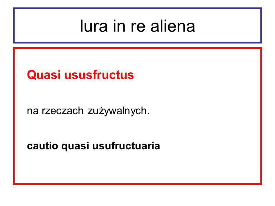 Iura in re aliena Quasi ususfructus na rzeczach zużywalnych.