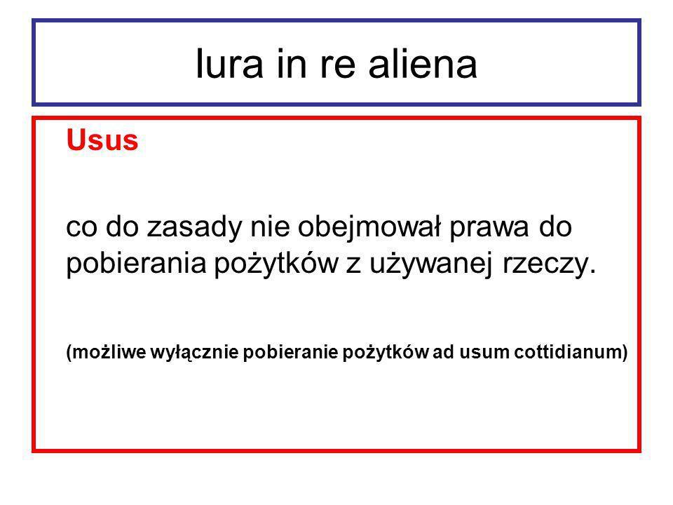 Iura in re alienaUsus. co do zasady nie obejmował prawa do pobierania pożytków z używanej rzeczy.