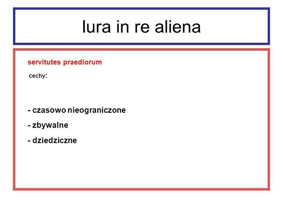 Iura in re aliena - zbywalne - dziedziczne servitutes praediorum