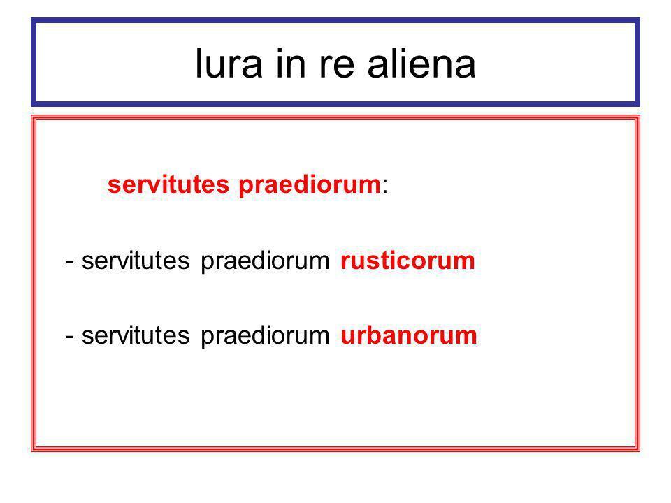 Iura in re aliena servitutes praediorum: