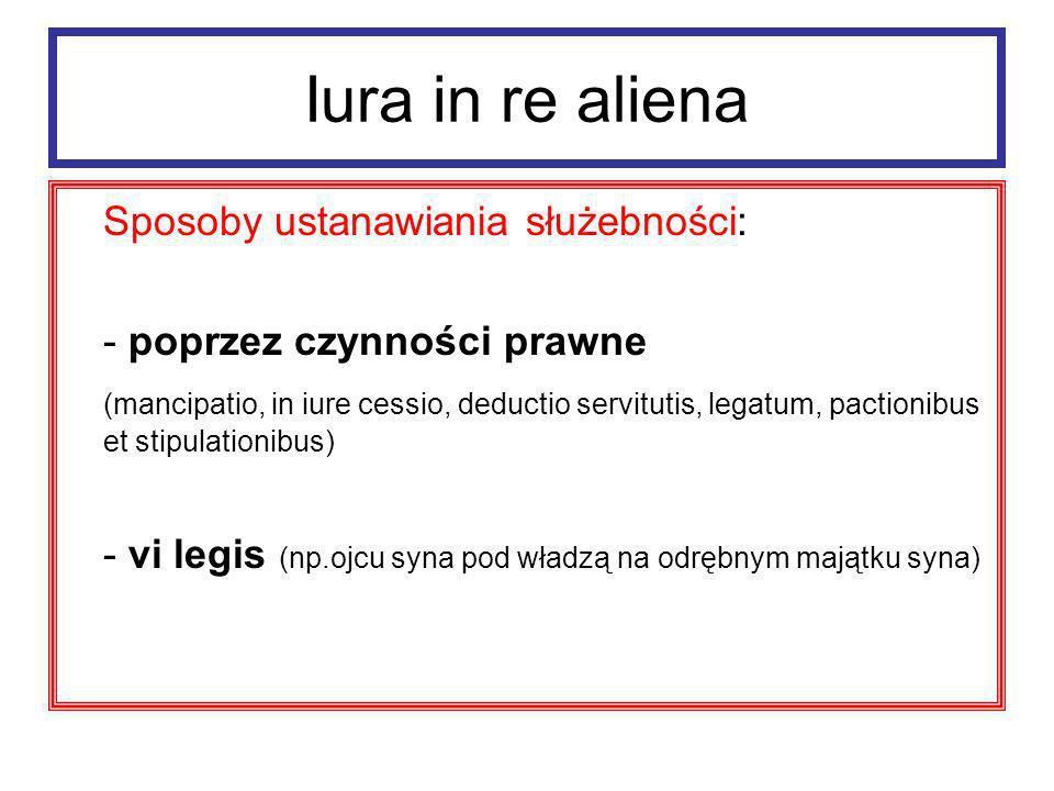 Iura in re aliena Sposoby ustanawiania służebności: