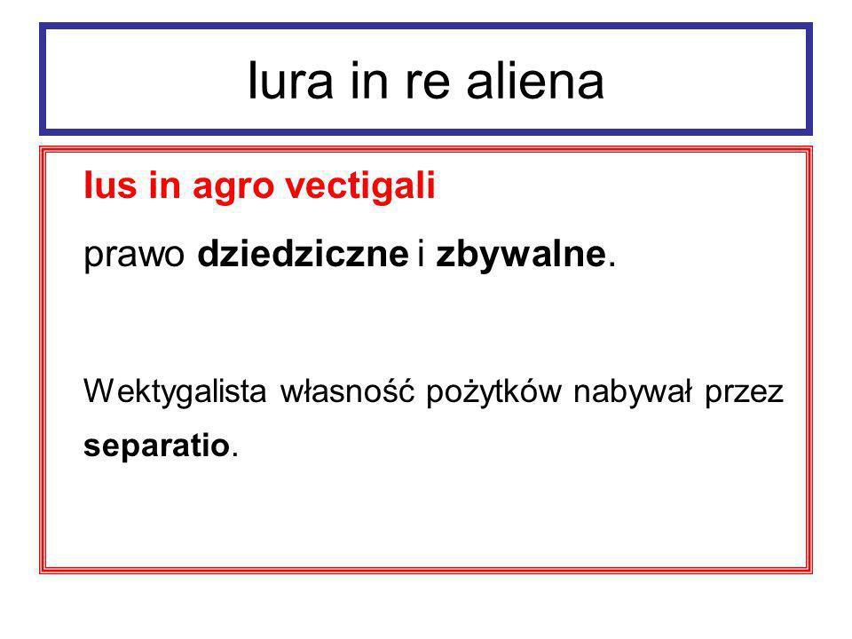 Iura in re aliena Ius in agro vectigali prawo dziedziczne i zbywalne.