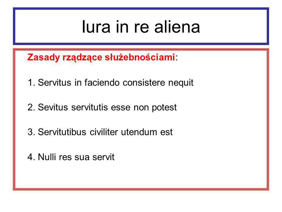 Iura in re aliena Zasady rządzące służebnościami: