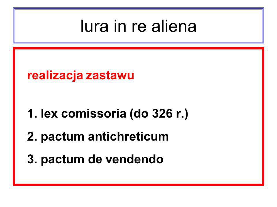 Iura in re aliena realizacja zastawu 1. lex comissoria (do 326 r.)