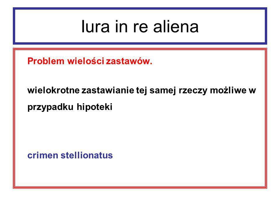 Iura in re aliena Problem wielości zastawów.