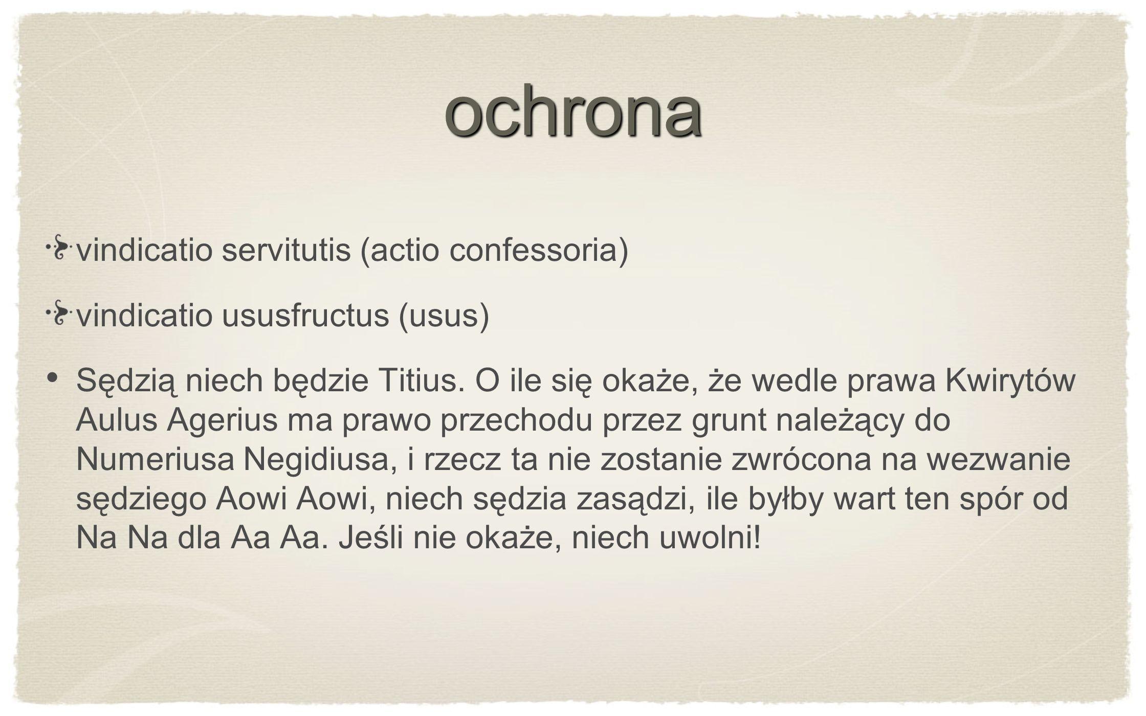 ochrona vindicatio servitutis (actio confessoria)