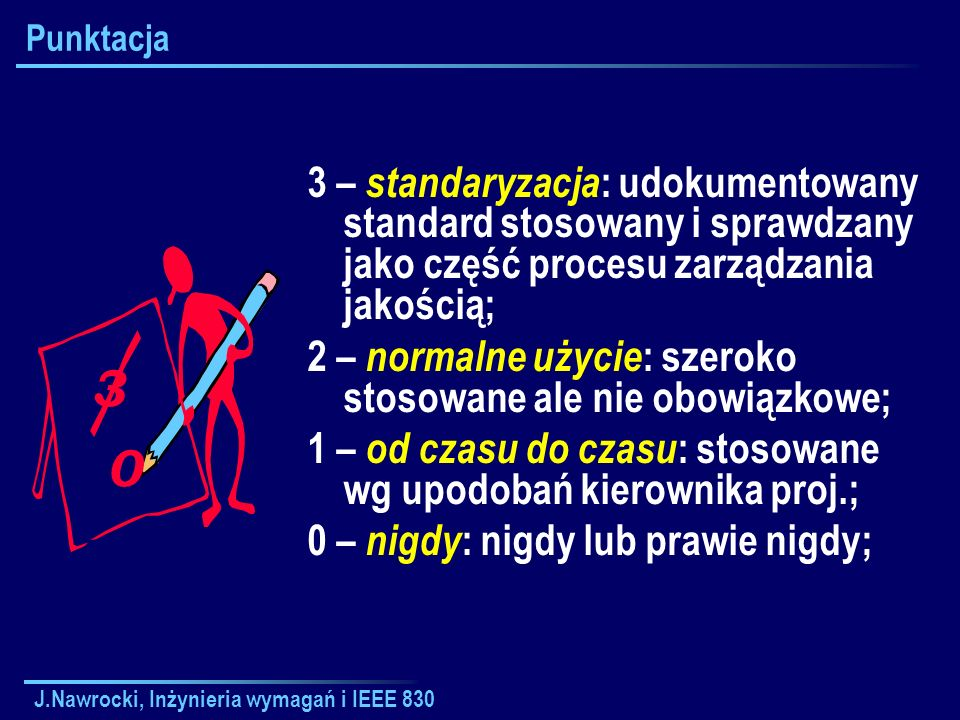Punktacja 3 – standaryzacja: udokumentowany standard stosowany i sprawdzany jako część procesu zarządzania jakością;