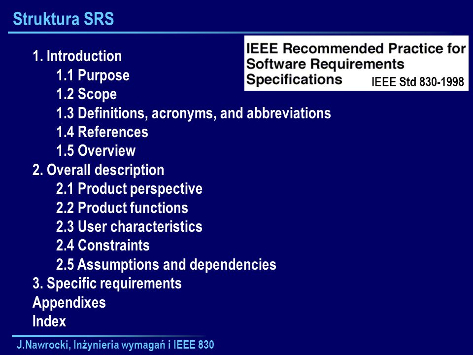 Struktura SRS 1. Introduction 1.1 Purpose 1.2 Scope
