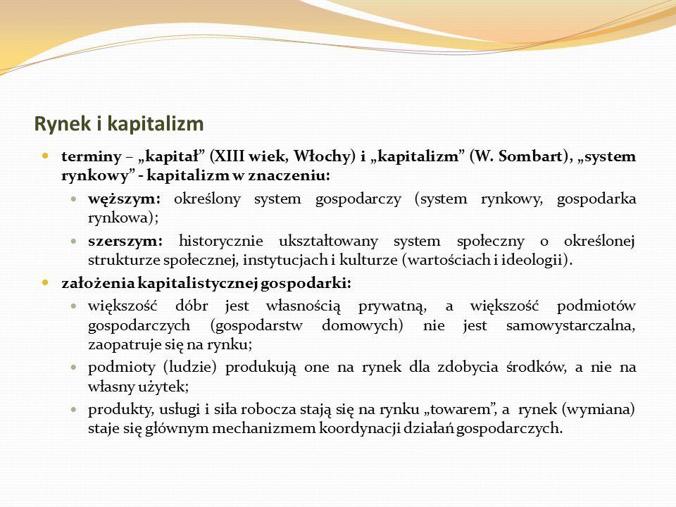 """Rynek i kapitalizm terminy – """"kapitał (XIII wiek, Włochy) i """"kapitalizm (W. Sombart), """"system rynkowy - kapitalizm w znaczeniu:"""