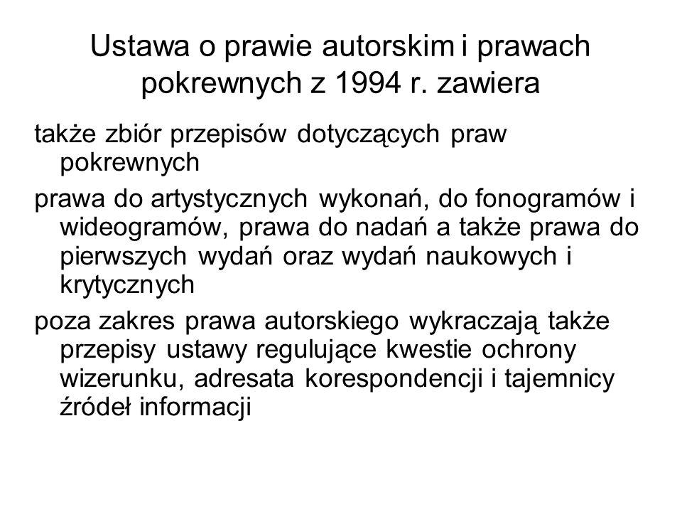 Ustawa o prawie autorskim i prawach pokrewnych z 1994 r. zawiera