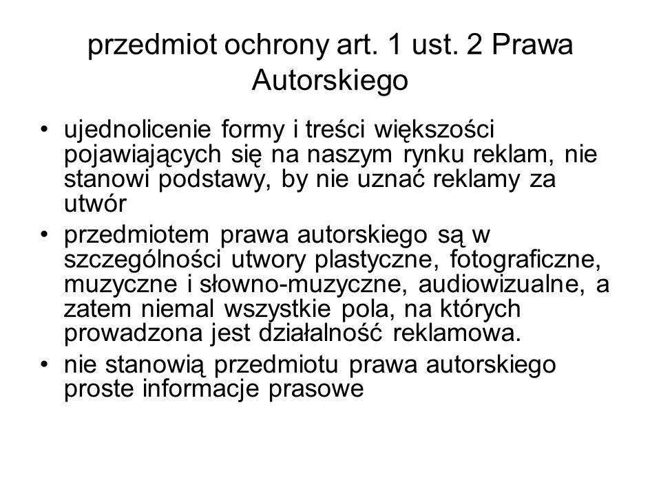 przedmiot ochrony art. 1 ust. 2 Prawa Autorskiego