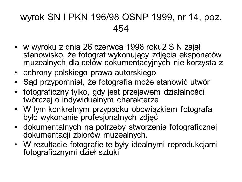 wyrok SN I PKN 196/98 OSNP 1999, nr 14, poz. 454