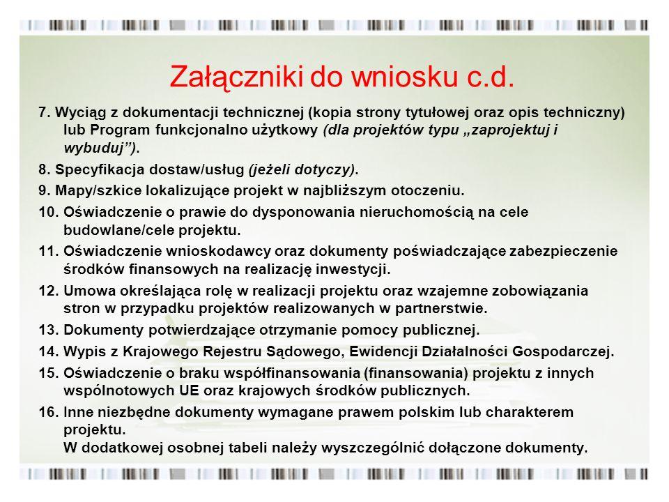 Załączniki do wniosku c.d.